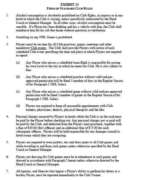 National Hockey League club rules